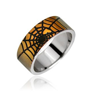 Buzz Jewelry Surgical Steel Spider Web Ring - Size: 9-13, ()