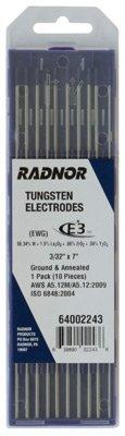 Radnor 64002244 1/8'' X 7'' Ground Finish E3 Tungsten Electrode (10 Per Package)