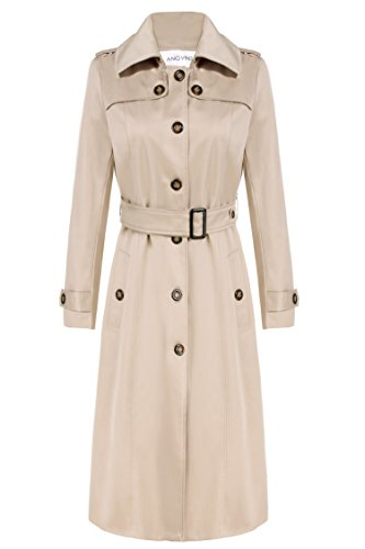 ANGVNS Women's Elegant Long Trench Coat Long Jacket Coat with Belt (XL, Khaki(FBA))