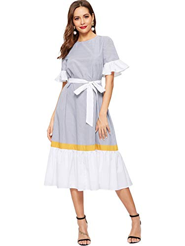 Romwe Women's Striped Short Sleeve Ruffle Hem Color Block Bow Belted Casual Dress Multicolor Medium