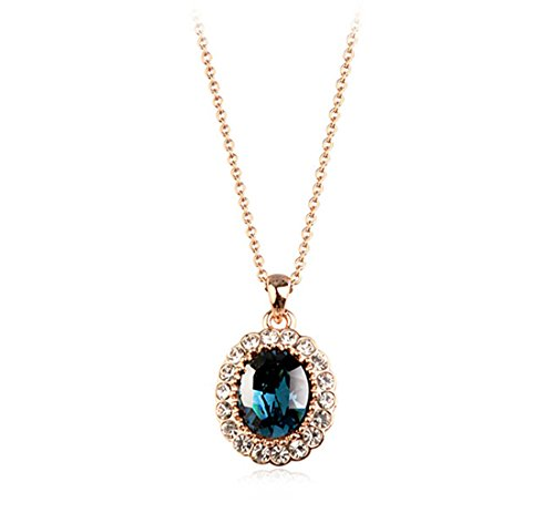 Rigant Oval Shaped Swarovski Elements Crystal Pendant Necklace Fashion Jewelry for Women (Gold Sapphire - Blue Oval Pendant