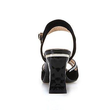 LvYuan Mujer Sandalias Zapatos formales Confort Suelas con luz Semicuero Verano Otoño Vestido Zapatos formales Confort Suelas con luzPedrería Black