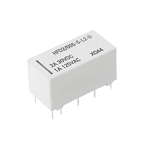 Numkuda 12V Coil Bistable Latching Relay DPDT 2A 30VDC 1A 125VAC HFD2/005-S-L2-D Realy (Dpdt Relay 1a)