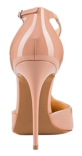 uBeauty Womens Court Shoes T-Strap Heels Sandals Big Size Stiletto Solid Pointed Toe Ankle Strap Pumps Nude kHc3v
