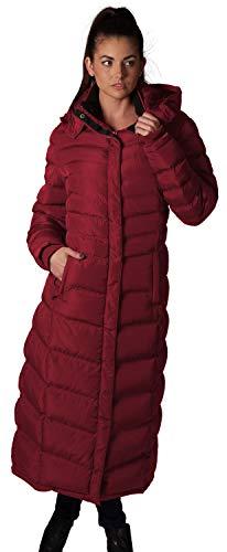 ELORA Women's Maxi Fleece Trim Hooded Full Length Puffer Coat, Burgundy, X-Large