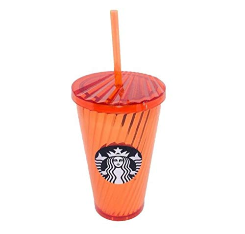 Starbucks 2018 Cold Cup 16oz Orange Shiny Spiral Tumbler Straw Halloween