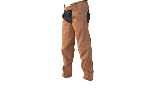 Brown Leather Lined Motorcycle Chaps w Braid Trim Mens