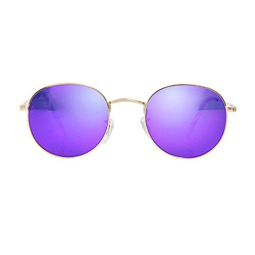 (LianSan Classic Retro Metal Frame Round Circle Mirrored Polaroid Sunglasses for Men and Women 3447 Purple Polaroid)