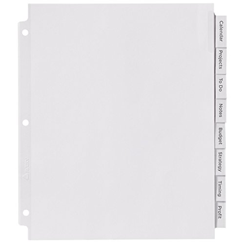 Avery big tab insertable extra wide dividers 8 clear tabs for Avery 8 tab clear label dividers template