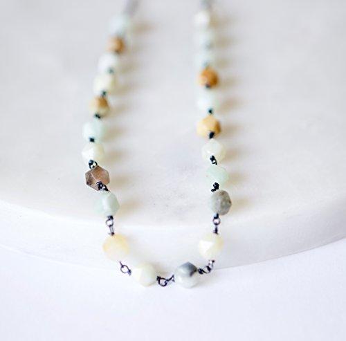Amazonite Wire Wrapped Oxidized Copper Necklace - 21