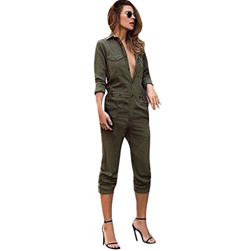Ximandi Women's Lapel Long-Sleeved Front Buttoned Street Trend Tooling Jumpsuit Playsuit Army ()