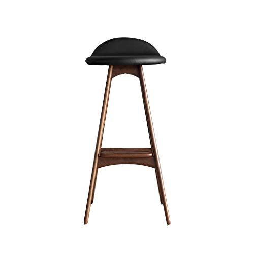 Modern Simple Nordic Bar Stool Log Design High Chair with Genuine Leather Semicircular Seat Strong Hardwood Wooden Barstool for Kitchen Breakfast Counter Conservatory Café or Pub
