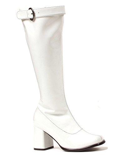 Wide Go Go Boots (Funtasma Women's Wide Width Gogo Boot, 3 Inch Block Heel (White;9))