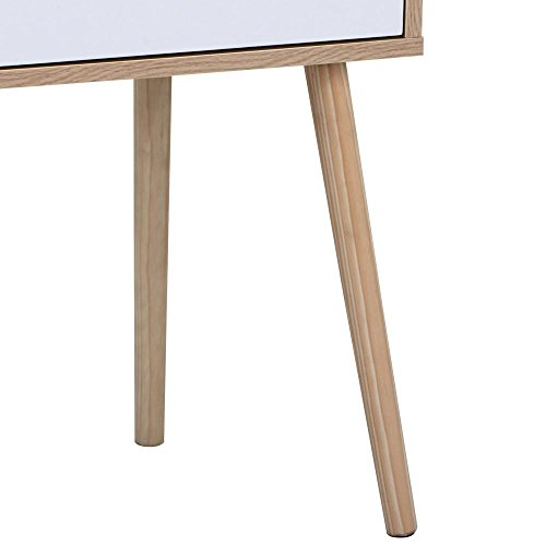 Topeakmart Walnut Bedside Table Solid Wood Legs Nightstand with White Storage Drawer by Topeakmart (Image #8)