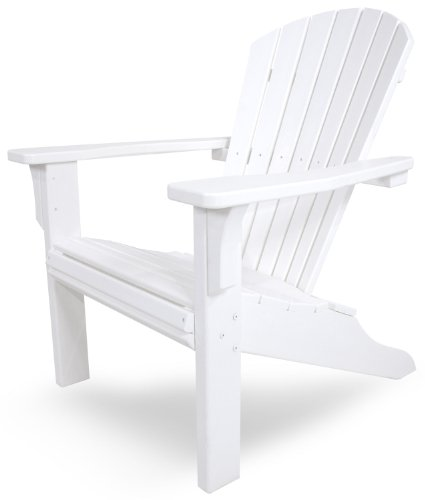 POLYWOOD SH22WH Seashell Adirondack Chair, White