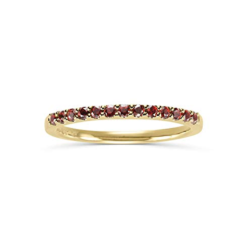Yellow Gold Genuine Garnet Ring - 14K Yellow Gold 1/4 Cttw Genuine Garnet Stackable 2MM Wedding Anniversary Band Ring - January Birthstone, Size 7