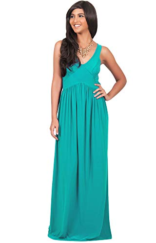 KOH KOH Womens Long Sleeveless V-Neck Summer Sexy Bridesmaids Gown Maxi Dress