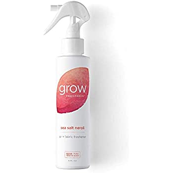 Grow Fragrance - Certified 100% Plant Based Air Freshener + Fabric Freshener Spray, Made with All Natural Essential Oils - Summer Limited Edition - Sea Salt Neroli Scent, 1 x 5 oz.