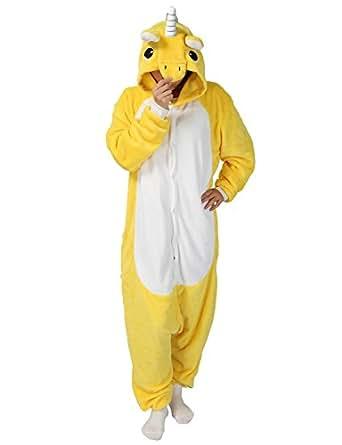 Unicornio PYJAMAS Disfraz Jumpsuit–Carnaval Cosplay Animales Dormir Traje Onesize adultos unisex amarillo S