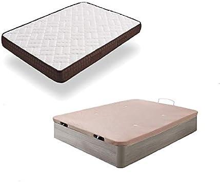 HOGAR24 ES Cama Completa - Colchón Viscobrown Reversible + Canape Abatible de Madera Color Roble Cambrian, 135x190 cm