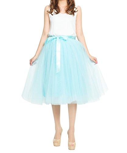 Women's Elastic Waist A Line Midi/ Knee Length Tulle Skirts Pleated Dance Tutu,Blue