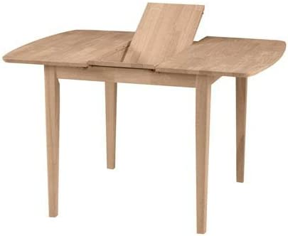 International Concepts Unfinished Clarkson Shaker Leg Dining Table with Butterfly Extension
