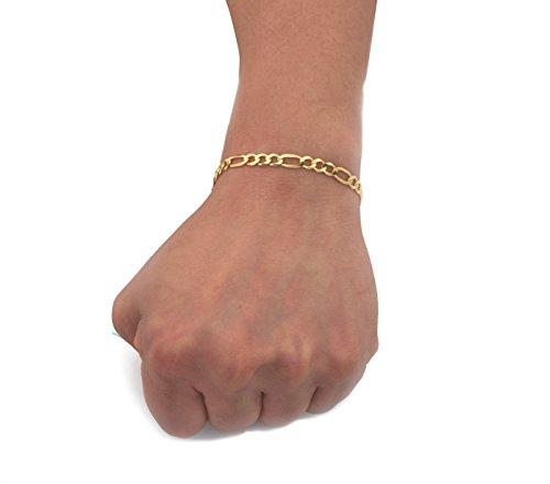 - LOVEBLING 10K Yellow Gold 5.5mm Solid Figaro Chain Bracelet W/Lobster Lock (8.5