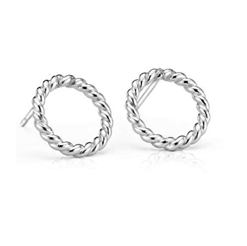 Sterling Silver Rope Textured Circle Stud Earrings ()