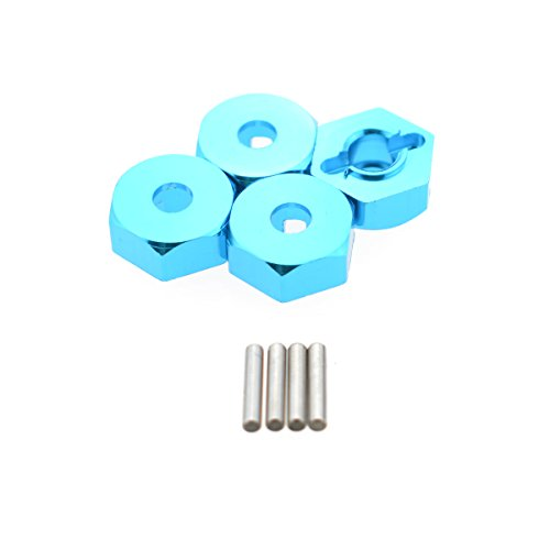 Hobbymarking 4Pcs RC Car 1/10 Aluminum 12mm Wheel HEX Hubs Drive Adapter with Pins for RC Racing Redcat HSP Upgrade ()