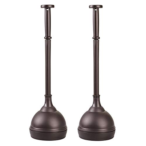 mDesign Plastic Bathroom Toilet Bowl Plunger Set with Lift & Lock Cover, Compact Discreet Freestanding Storage Caddy with Base, Sleek Modern Design - Heavy Duty, 2 Pack - Bronze