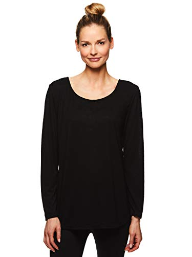 Gaiam Women's Strappy Open Back Yoga Shirt - Long Sleeve Activewear Top w/Side Slits - Gianna Black, 3X