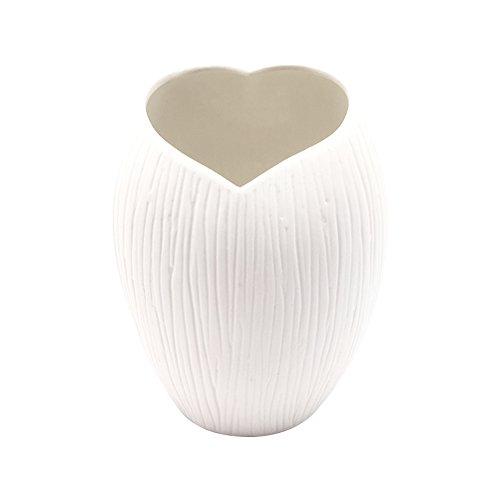 Striped Ceramic (ANDING Modern Striped Design Small White Ceramic Decoration Desktop Center Vase / Flower pot)