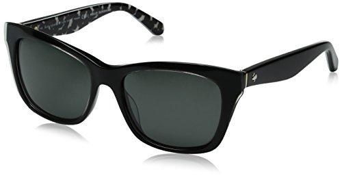 Kate Spade Women's Jenae/ps Square Sunglasses, Black Cream Transparent/Gray Polarized, 53 -