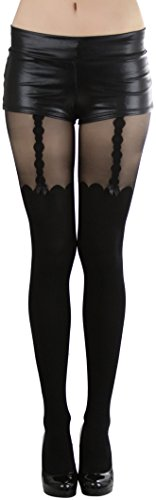 ToBeInStyle Women's Faux Thigh Hi And Suspender Set Design Spandex Pantyhose