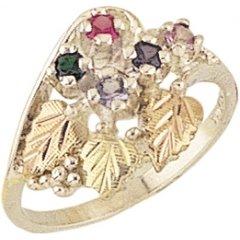 Black Hills Gold Mothers Ring (Black Hills Gold Silver Mother's Ring - 4 stones - MR925)