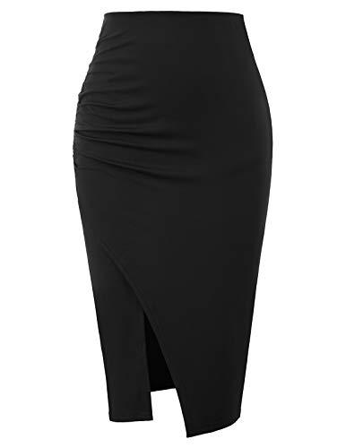 GRACE KARIN Casual Elastic Waist Pencil Skirt Wear to Work Black Size XXL CL930-1