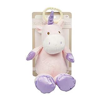 "Kelly Baby 10"" Plush Cuddle Unicorn Baby Clip-on Pram Toy with Rattle, Pink/Purple"