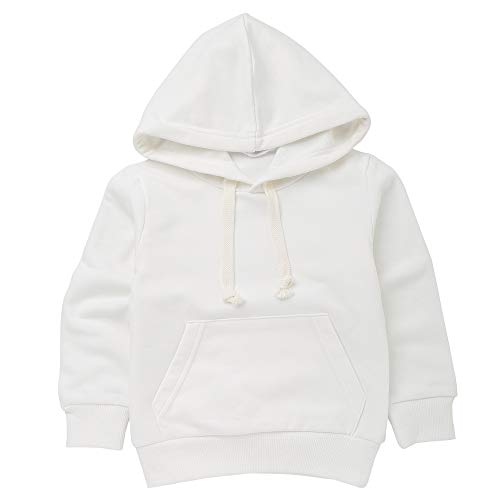 1-6 Years Old Kids Boys Girls Hooded Pullover Sweatshirt Toddler Infant Baby Casual Simple Jumper Pockets Sports Tops Hoodies Outfits (24 Months, White)
