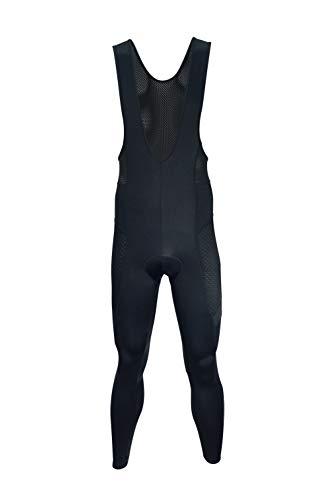 Dinamik Evo Pro Men's Cycling Bib Tights, Extra Padded Long Bike Pants, Light Breathable Compression Ankle Length Active Leggings (Black, X-Large)