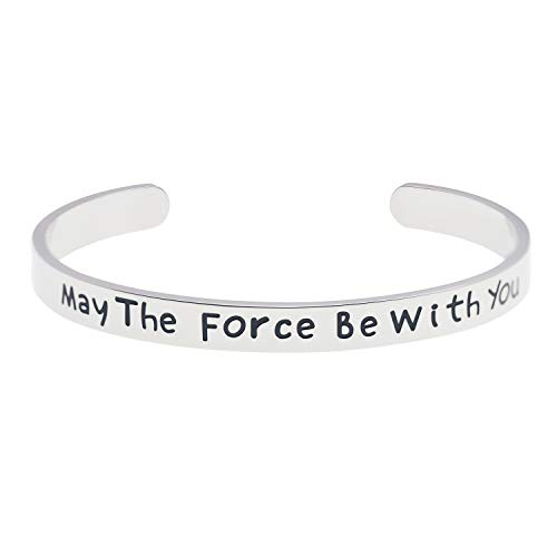 (LParkin May The Force Be with You Cuff Bracelet Stainless Steel High Polished Finish Cuff Bracelet Men Women (Force with You))