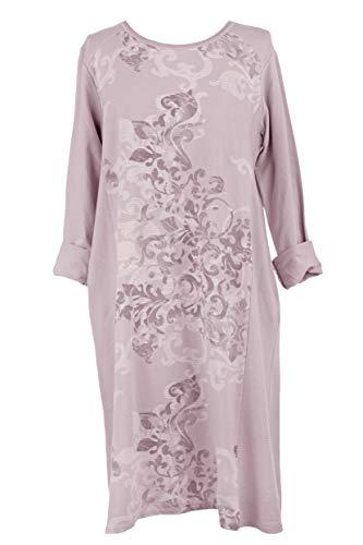TEXTURE Ladies Women Italian Lagenlook Swirl Print 2 Pocket Ribbed Panel Cotton Midi Dress One Size (Light Pink, One Size)