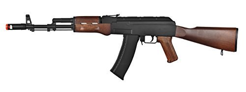 WELL AK-47 AEG Semi/Full Auto Electric Airsoft Rifle Gun High Capacity Magazine FPS 290 (Black/Wood) - Airsoft Well