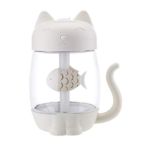 - PCEPEIVK USB Cartoon cat Humidifier, Ultrasonic Cool-Mist Adorable Mini Humidifier with LED Light Mini USB Fan for Home Office