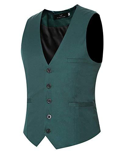 Pour Targogo De Smoking Grün Retro Hommes Couleur Casual Unie Coupe Business Fit Taille Base Slim Gilet Élégant rSnxr