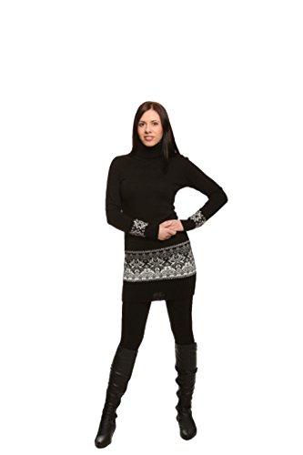 aus Exklusives Wolle mit in Langarm Rollkragen Strickkleid Schwarz 100 verschiedenen Farben w6IU61q