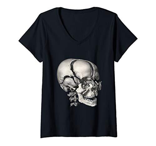 (Womens Vintage Human Anatomy Skeleton Skull and Head Bones V-Neck T-Shirt)