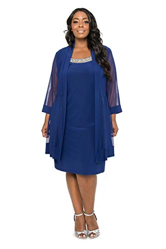 R\u0026M Richards Black Plus Size Mother of The Bride 2 Piece Dress (16W, Royal  Blue)