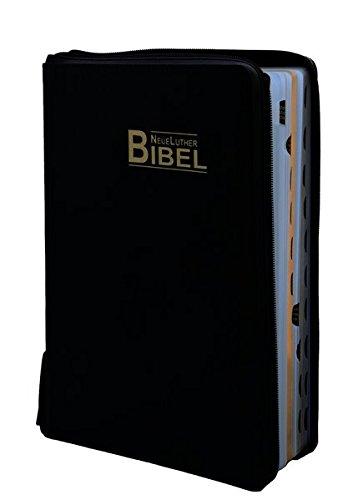 NeueLuther Bibel: Luther 2009 - Großausgabe - Lederfaserstoff Schwarz - Goldschnitt - Register - Reißverschluss mit Druckknopf