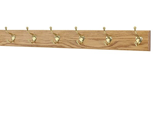 (Solid Oak Coat Rack with Solid Brass Hat and Coat Style Hooks - Made in The USA (Golden Oak, 36