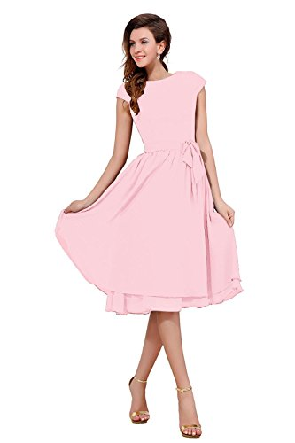 Pink Dress Blushing Bess Party Sleeve Bridal Length Knee Cap Bride of The Women's Mother qwOqTRU